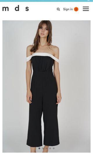 🚚 MDS off shoulder black jumpsuit