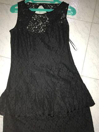 Dress hitam / black dress / dress pesta / midi dress