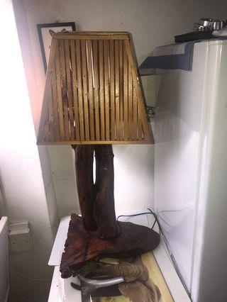 Vintage Tree trunk  Table Lamp n Wooden mirror