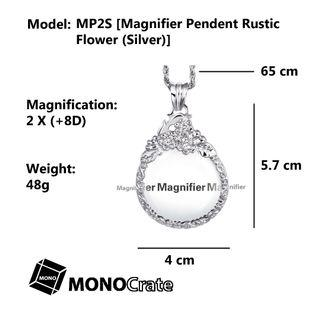 Magnifier Pendent Rustic Flower (Silver) [Magnifying glass, Reading aid, Low vision aid, Reading glasses, Handheld magnifier]