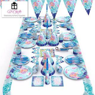 🚚 16 Sets Mermaid Theme Party Supplies Bundle for 6 pax