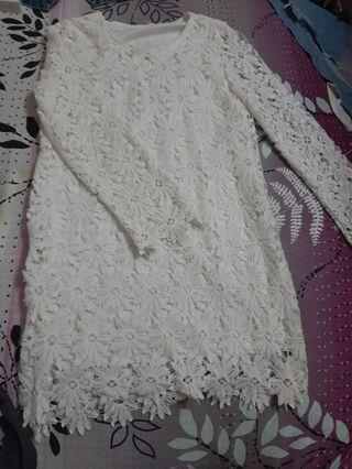 White lace dress long sleeves