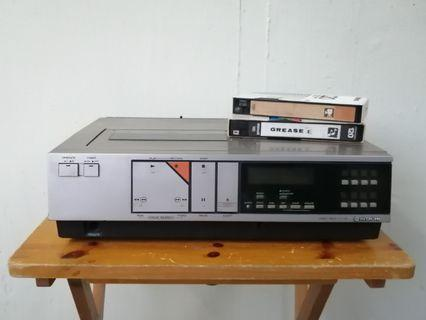 For Rent: Vintage video cassette player and VHS video tapes