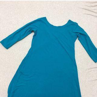 🚚 丨uniqlo 彈性棉質舒適長版洋裝丨