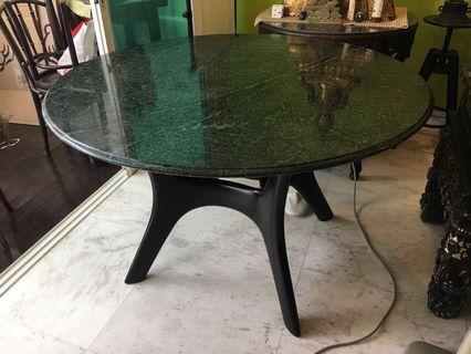 Green Jadeite Teak Marble Table
