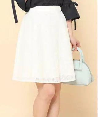 包郵日系 鬆緊腰顯瘦 米白色半身裙 斯文裙