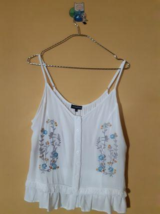 White Embroidered Tanktop