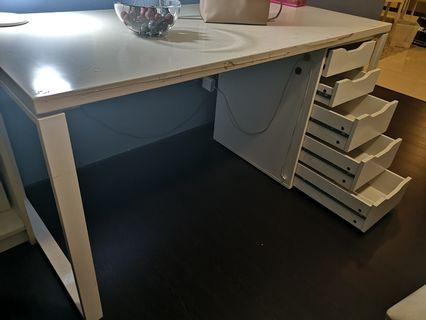 White Study Table (drawers sold)