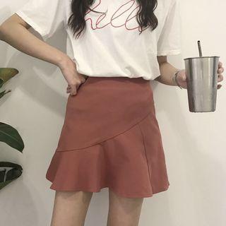 豆沙紅荷葉邊A字褲裙