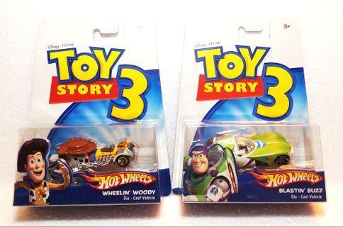 全新中古Toy Story:Hot Wheels 出品,巴斯光年&胡迪合金車,2009年出品,保存良好,市面少有,每款$48,不議價,全要優先,有意pm。