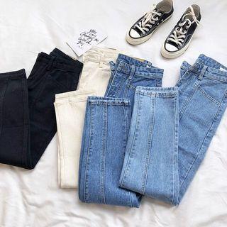 直筒牛仔長褲單寧牛仔長褲藍色九分顯瘦韓版