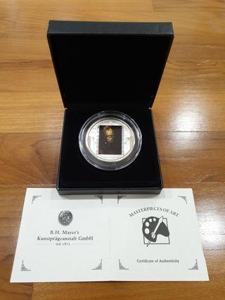 2010 COOK ISLANDS MASTERPIECE OF ART 3 OUNCE REMBRANDT MAN WITH GOLDEN HELMET SILVER COIN