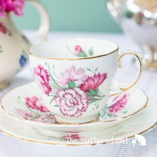 Pretty vintage pink carnation bone china tea trio