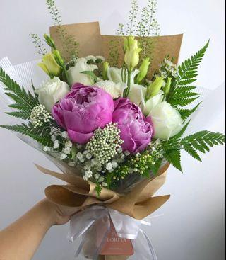 🚚 💐Lovely Peony Mixed Bouquet | Birthday Flowers | Anniversary Gift | Flower Delivery | Singapore Florist
