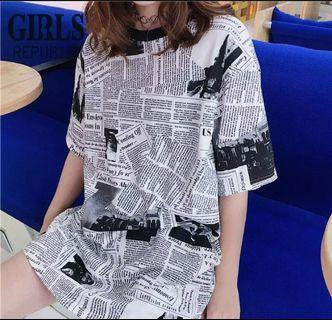 Newspaper korean stlye oversized t-shirt