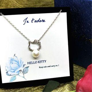 Silver 925 necklace with hello kitty pearl charm