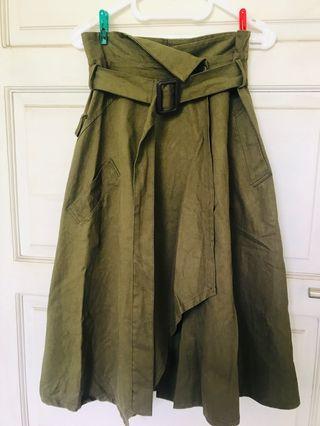 Wrap green army midi Skirt