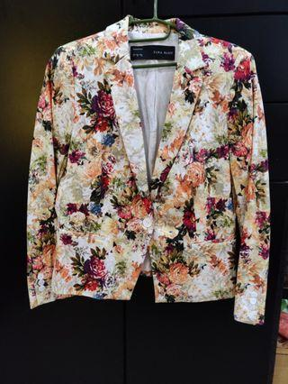 Zara Flower bunga Blazer jaket jacket