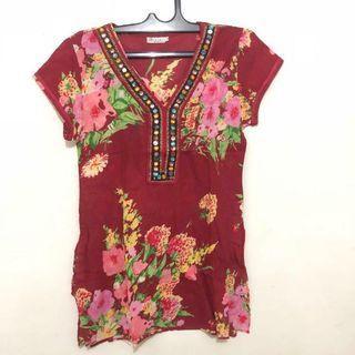 Red Flowery Top