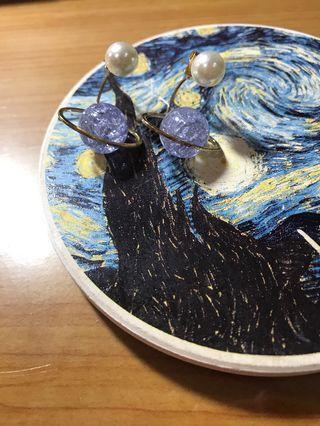 星球*珍珠/ 後扣式耳環- 二手