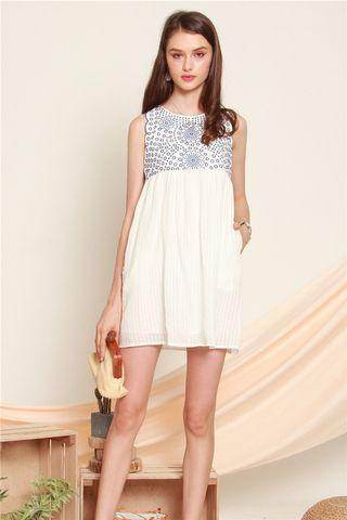 Anticlockwise Blue Embroidery Crotchet Babydoll Dress