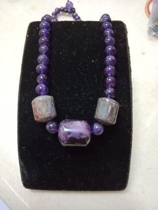 舒俱萊石項鍊+紫水晶