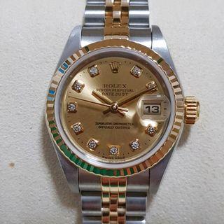 Rolex Datejust (ladies) 69173 wit 10 diamonds full set