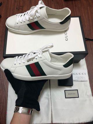 「全新全配」Gucci經典紅綠小白鞋