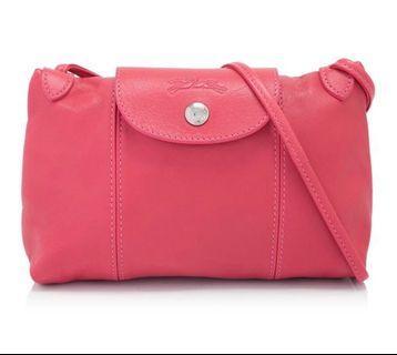 🚚 Longchamp 小羊皮斜背包(玫瑰粉)