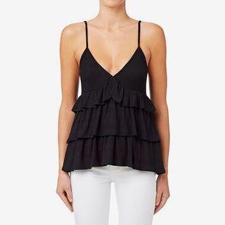 Seed Black Frill Cami/Tank Top