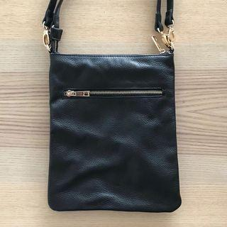 Black Leather Handbag With Stripe Lining