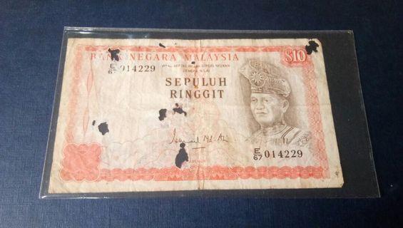 Malaysia Old 10 Ringgit Wang Kertas Lama ada lubang