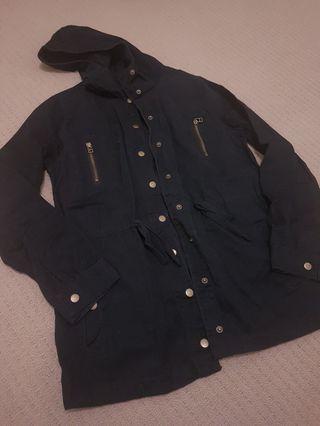 JayJays Black Button-up Jacket with Hood