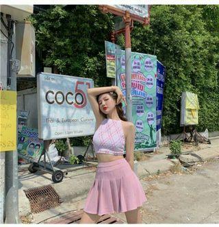 (PO) 2 Items - Kawaii Pinkish Halter Top & Tennis Skirt