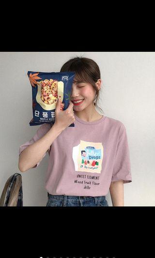 粉紫色零食韓系t恤