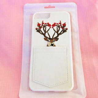 3D embroidery lace detailing pocket iPhone 6/S PLUS white deer phone case