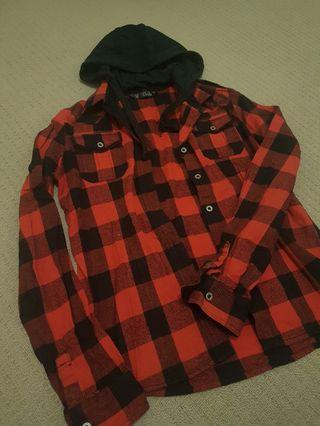 Red and Black Checkered Flannel Jacket with Detachable Hood