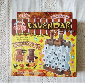 全新熊仔DIY LEGO月曆 熊熊座台積木萬年曆 Teddy Bear Calendar