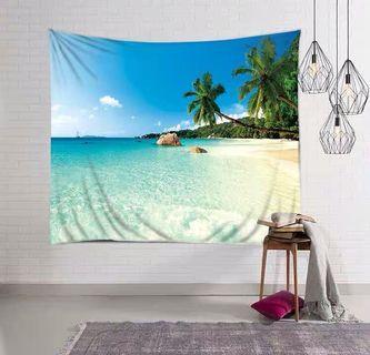 小預算佈置術藍天海灘北歐裝飾牆壁掛布壁畫直播背景微裝潢