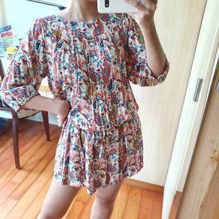 日系復古古著感 民族風圖騰洋裝