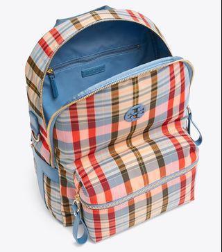 Sporty Tory Burch Tilda Plaid Nylon Zip Ladies Backpack