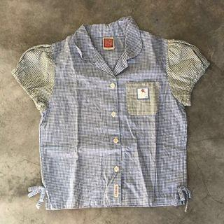 🚚 Girl Children Blouse Shirt Blue Checkered