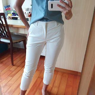 Uniqlo 最小號 白色西裝布料八分長褲