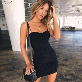 Black Spaghetti Strap Bodycon Dress
