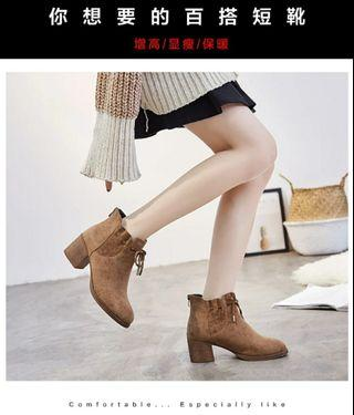 女生短靴鞋秋、冬季高跟馬丁靴