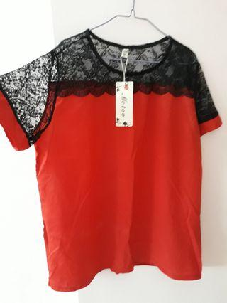 Red top with black lace