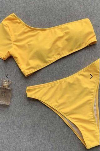 Yellow Two Piece One Shoulder Swimwear Padded