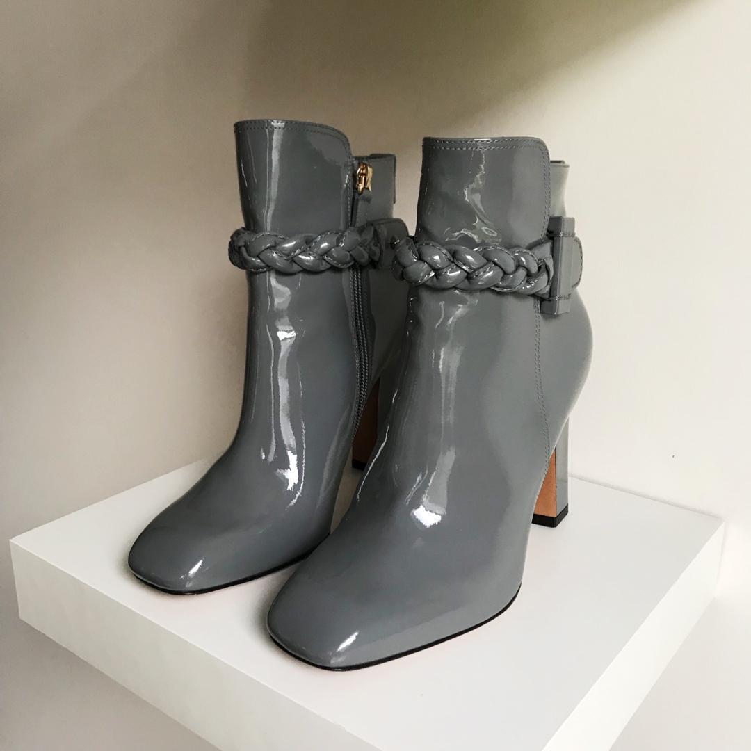 $1850 Valentino grey patent booties size 36.5 / 6.5