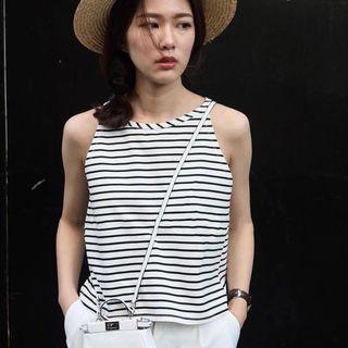 Black and White Stripes Halter Neck Crop Top
