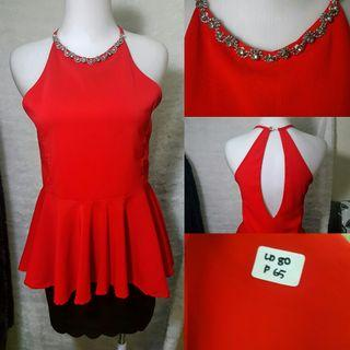Red Sleeveless Woman Top